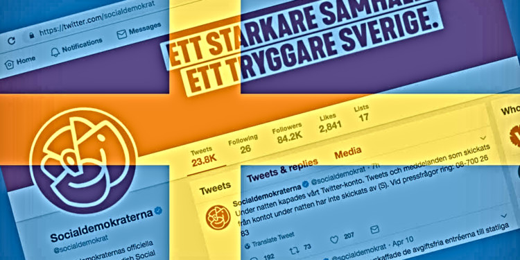 Swedish ruling party Twitter allegedly hacked for Bitcoin scam 1