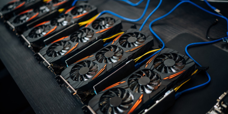 Crypto currency mining components with graphics cards and gpu. Internet connected power rig mining ethereum, bitcoin and altcoins