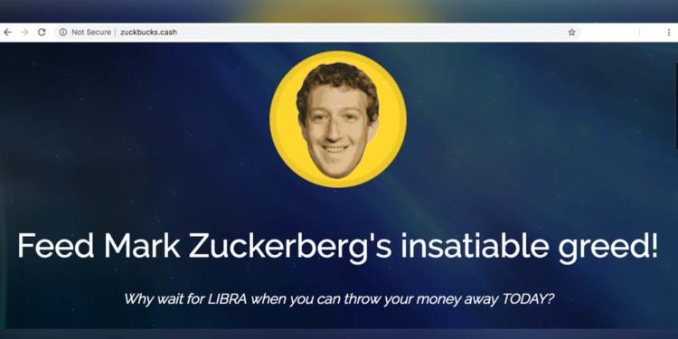 Zuckbucks.cash website is mocking Zuckerberg and Libra with class 1