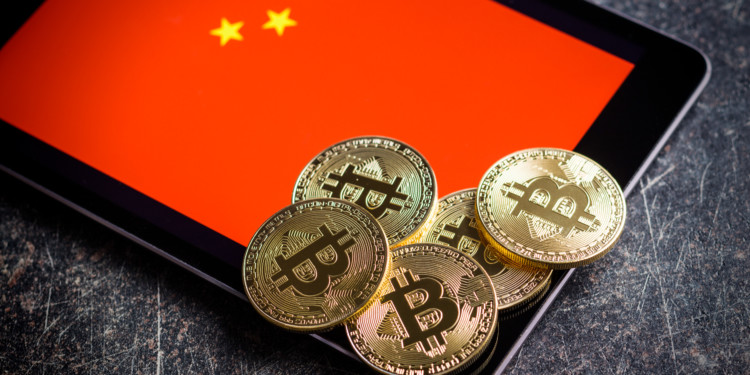 Golden bitcoins and chinese flag. Digital cryptocurrency.