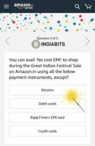 Amazon India promotes Bitcoin in an app poll quiz 1