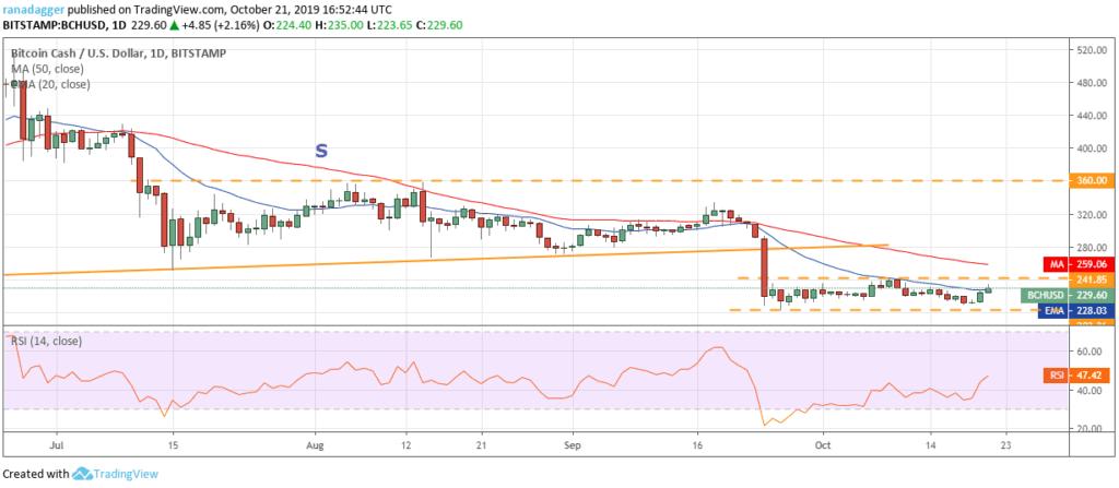 Bitcoin Cash price chart 2 - 22 October 2019