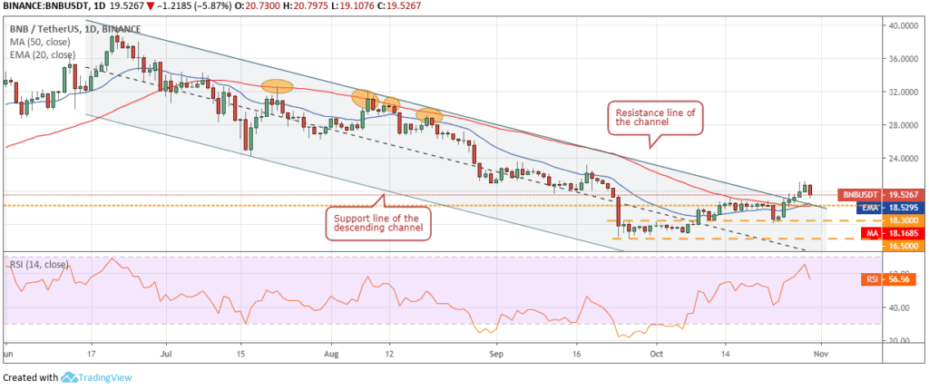 Binance Coin BNB price chart 2 - 1 November 2019