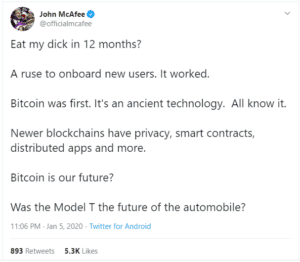 mcafee is backing off bitcoin